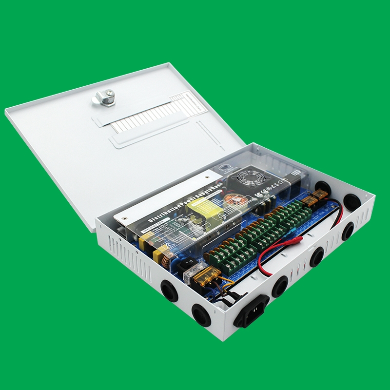 白色箱式18路直流电源12V/240W规格